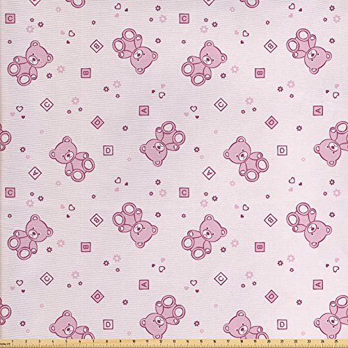 Ambesonne Toys Fabric by The Yard, Teddy Bear with Squares Hearts and Blooming Flowers Pastel Colored Illustration, Decorative Fabric for Upholstery and Home Accents, Pale Pink Purple
