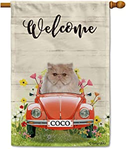 BAGEYOU Custom Name Welcome Spring Dog House Flag Persian Cat Driving a Vintage Car Summer Flowers and Lawn Decor Home Banner for Outside 28x40 Inch Print Both Sides