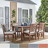 Inspire Q Yasawa Modern Wood Outdoor Rectangle 7-Piece Dining Set – Brown Oasis Red Review
