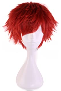 HH Building Short Layered Curly Anime Fashionable Cosplay Costume Wig Red Hair