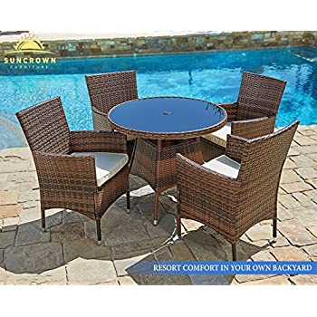 Suncrown Outdoor Furniture All-Weather Wicker Round Dining Table and Chairs (5-Piece Set) Washable Cushions | Patio, Backyard, Porch, Garden, Poolside | Tempered Glass Tabletop | Modern Design