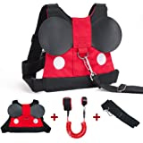 Lehoo Castle Toddler Leashes for Walking, 2 in 1 Kids Safety Harness + Anti Lost Wrist Link, Baby Leash Harness for Walking Boys (Mickey)