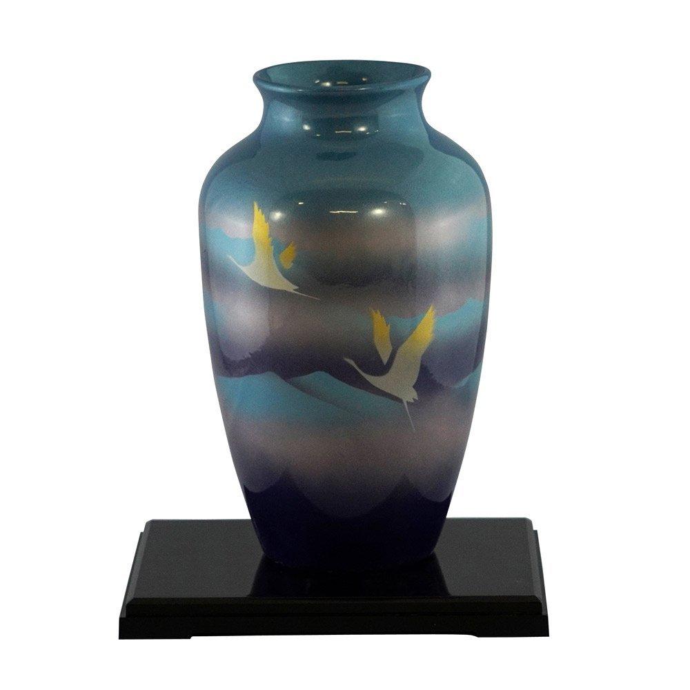 山治陶苑 7号カメ型花瓶 双鶴(花台付き) YMJ-009 B007JS0L0K