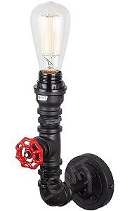 Vintage Steampunk Lampe murale en métal léger design tuyau Noir