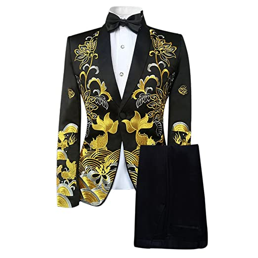 Mens Patterned Embroidered Dress 40 Piece Suit Set Slim Fit Blazer Magnificent Patterned Suit Jacket