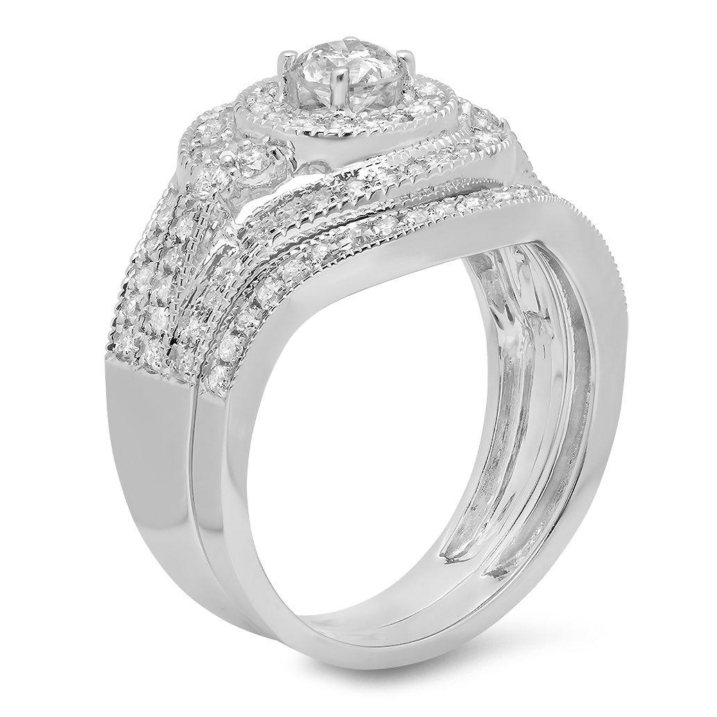 1.00 Carat (ctw) 14k White Gold Round Diamond Ladies Vintage Bridal Engagement Ring Matching Wedding Band Set 1 CT (Size 8) by DazzlingRock Collection (Image #2)