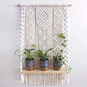 Macrame Wall Hanging Shelf, Handmade Indoor Boho Rope Plant Pot Basket Hanger Holder, Rope Plant Hanger for Wall Decor
