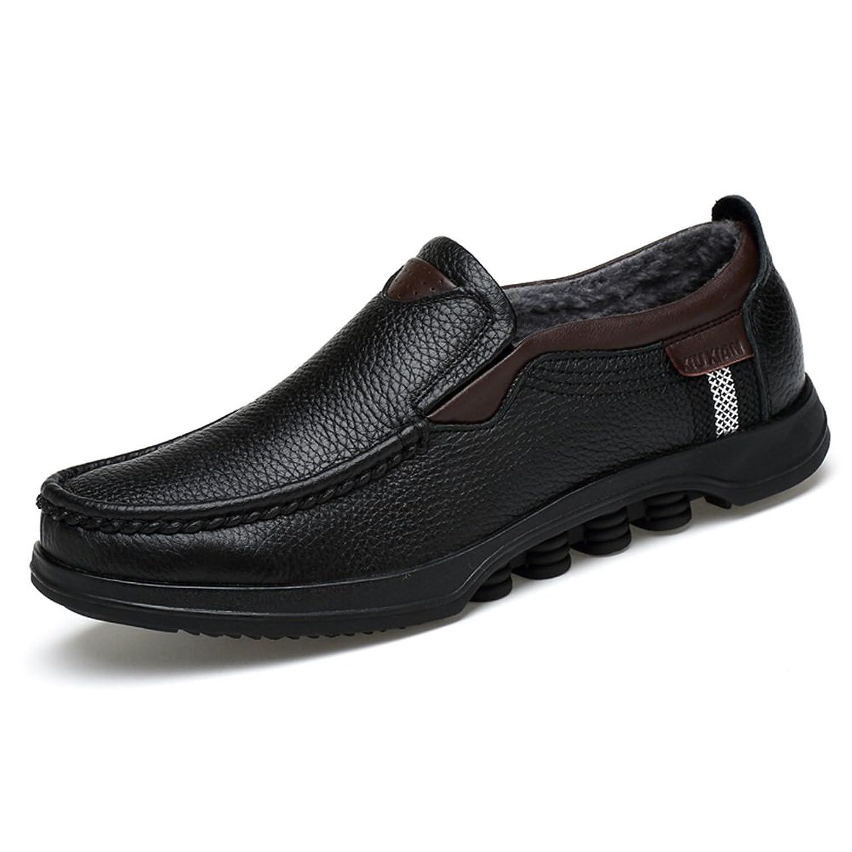 ailishabroy Hombre Invierno Hombres Calientes Zapatos Hombres Casual Resbalón En Mocasines De Cuero Negro