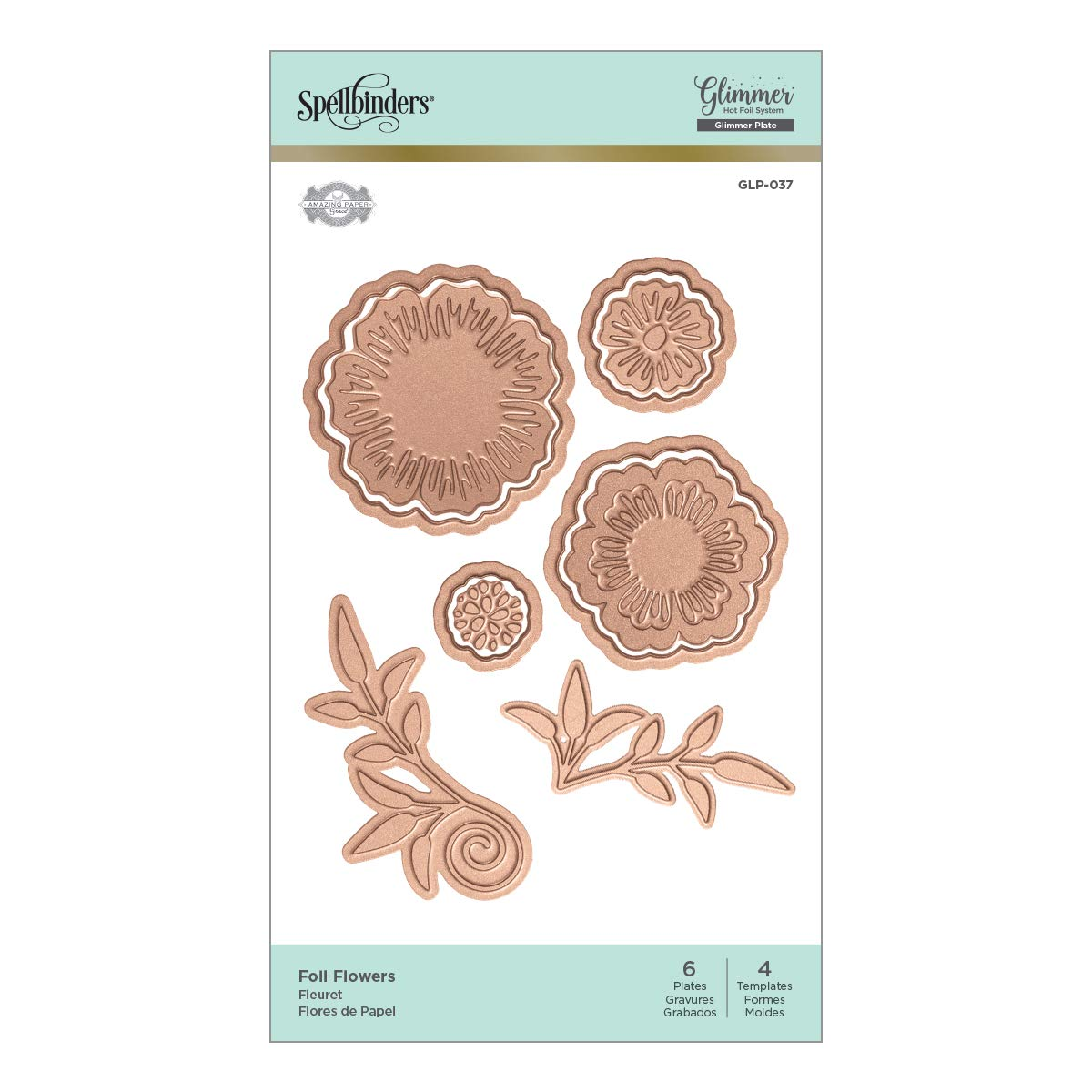 Amazon.com: Spellbinders GLP-037 Flowers by Becca Feeken Glimmer Hot Foil Plate Metal
