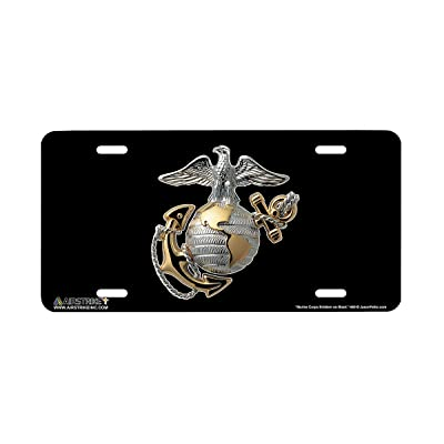 Airstrike USMC License Plate Marines License Plate-Marine Corps Emblem on Black Made in USA Metal License Plate-669: Automotive