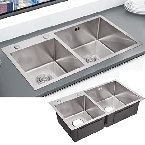 Double Bowl Kitchen Sink Deep Stainless Steel Drop In ...