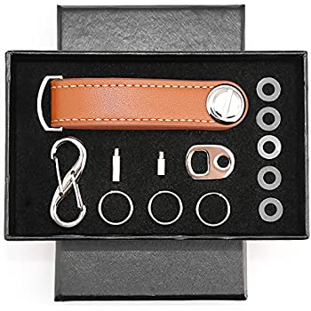 Compact Key Holder Leather Key Organizer Secure Locking Mechanism    Expandable Key Holder Hook Up (8 Keys) Made By Premium Quality Leather  (Elegant Brown)