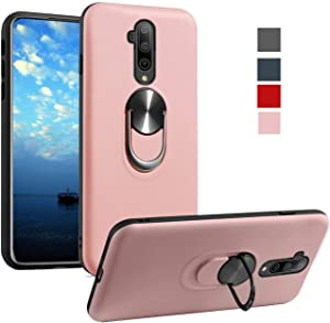 OnePlus 7T Pro Case 1+7T Pro Phone Case 360 Ring Holder Kickstand Support Magnetic Car Mount Shockproof Armor Protection Back Case Cover for One Plus 7T pro (Pink)