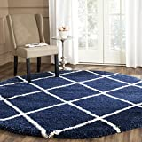 Safavieh Hudson Shag Collection SGH281C Navy and Ivory Round Area Rug, 9' in Diameter