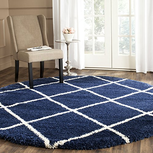Safavieh Hudson Shag Collection SGH281C Navy and Ivory Moroccan Diamond Trellis Round Area Rug (5' Diameter)