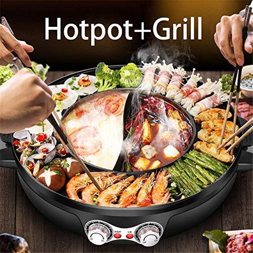 S SMAUTOP 2 in 1 Elektrischer Hot Pot und Grill Doppeltopf 2200W Tragbarer Split-Grill Grill Integrierter Kochtopf, Leicht zu Reinigen (Schwarz, 19.68in)