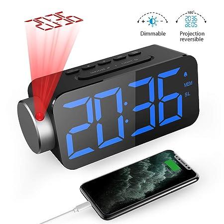 GlobaLink Reloj Despertador Digital, Despertador Proyector con FM ...