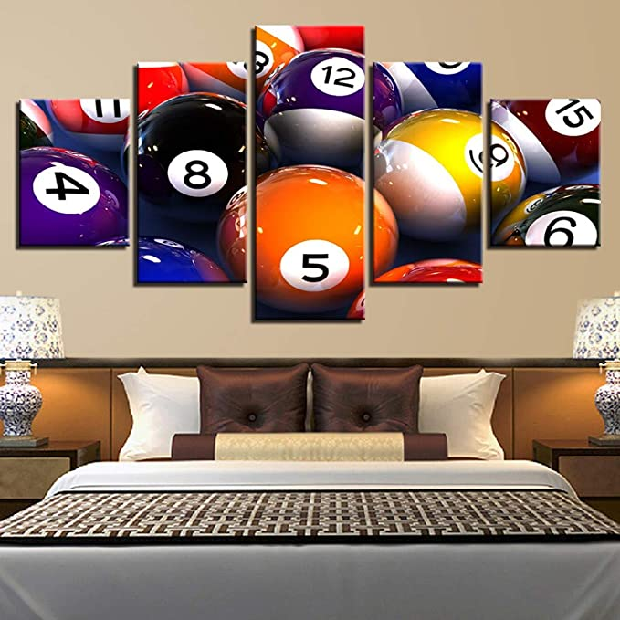 SLFWCLH 5 Pictures Hd Printed Modern Canvas Painting Wall 5 Panel Billiards Art Modular Poster Pictures Home Decoration Living RoomNo Frame