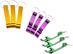 9 Packs of Keychain Beer Bottle Openers, ANIN Aluminum Claw Bar Soda Beverage Opener for Wedding Party Picnic Camping Travel