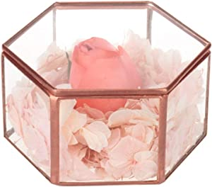 Feyarl Vintage Jewelry Trinket Glass Box Ornate Ring Earring Box Preserved Flower Glass Box Decorative Box Wedding Dresser (Copper)