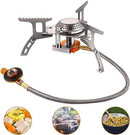 yidenguk Estufa de Gas para Acampar, Tipo Dividido Cabeza de la Estufa Horno Plegable Plegable portátil A Prueba de Viento Estufa de Cocina para ...