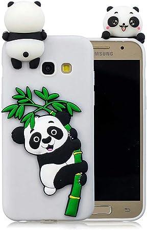 Coque Samsung Galaxy A3 2017(SM A320) Fanxwu Dessin Style Mignon 3D Panda Cartoon Silicone Étui Ultra Souple Gel TPU Anti-Rayures Cover - Blanc