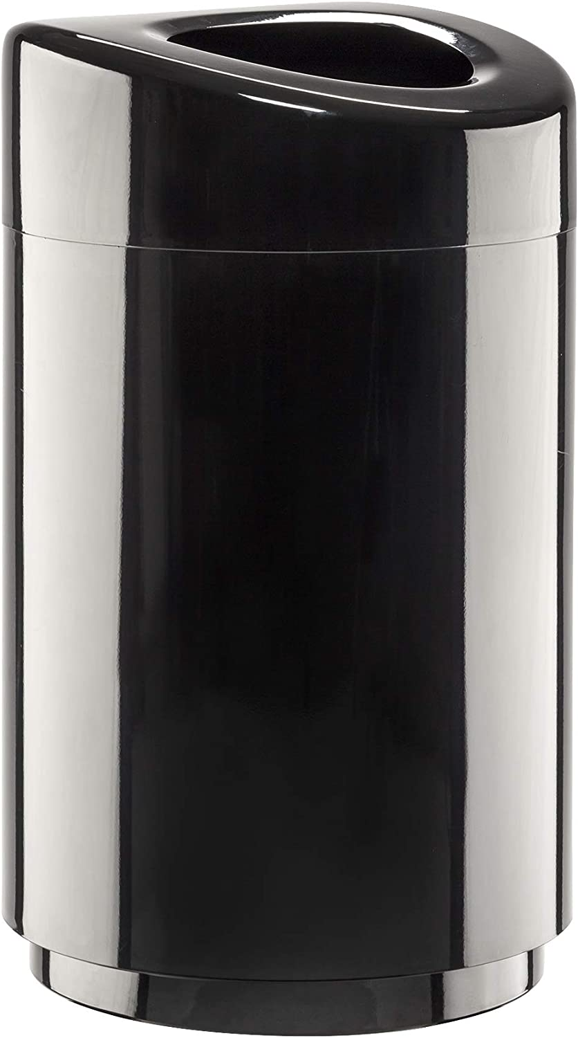 Safco Products Open Top Trash Receptacle with Liner 9920BL, Black, 30 Gallon Capacity, Hands-free Disposal, Modern Styling