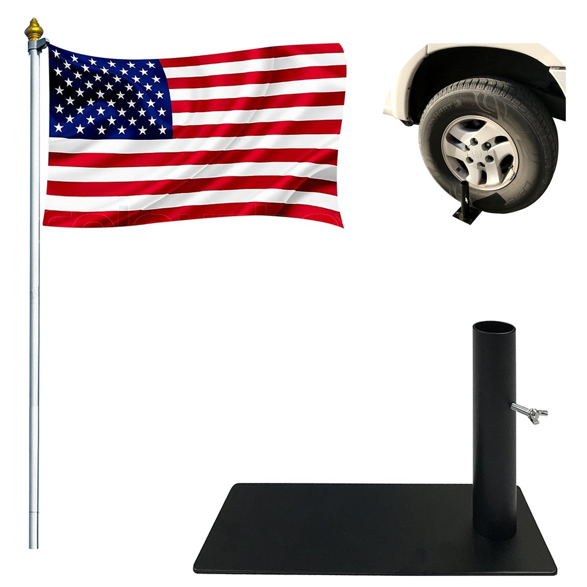 EasyGoProducts Tire Mount Flag Holder – Flag Pole Holder – Tailgate Flag Bracket - Works with Cars, Trucks and RV's
