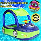 Baby Swim Float with Canopy, Car Shaped Inflatable Swimming Ring Boat with Sunshade for Boys Girls Toddler Infant Float for Pool Floating Cute Boat Summer Outdoor Play (Fit 3-36 Months, Maximum 44lb)