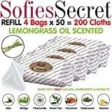 SofiesSecret XL PET WIPES LEMONGRASS SCENTED All In One Grooming REFILL 200 Count for Paws, Coat, Skin, Face, Ears & Teeth 100% Natural & Organic Extracts Extra Thick Extra Large Cruelty Free & Vegan