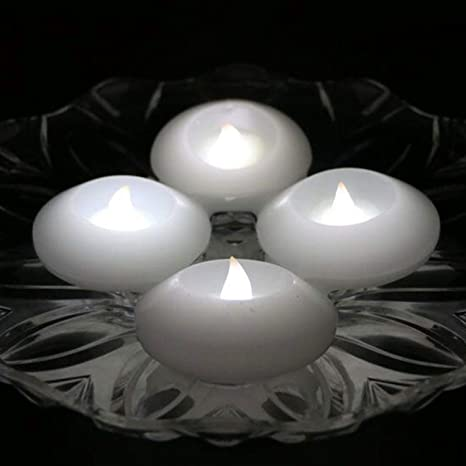 Pack of 4 Wax Flicker 3 inch LED Water Floating Candle Warm White Color for Wedding or Party Decoration Warm White
