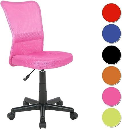 SixBros. Chaise de Bureau, Fauteuil de Bureau, Chaise pivotante pour Le Bureau ou Bien la Chambre d'Enfant, Chaise d'Enfant en Tissu, Rose,