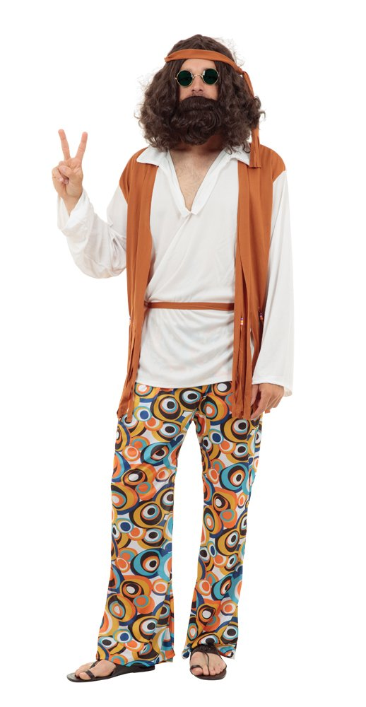 Hippie Man Costume - Shirt with Attached Waistcoat, Trousers, Headband and Belt