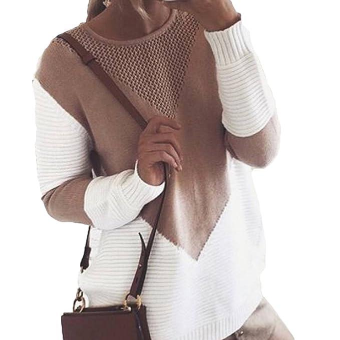 Mujer De punto Saltador Pullover - Knitted Jumper Saltador Largo Manga Suéter Hueco Holgado Tops Camisa