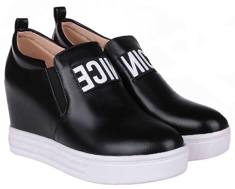 IDIFU Women's Fashion Heighten Low Heel Wedge Sneakers Flat Round Toe Slip On Platform Shoes Black 11 B(M) US