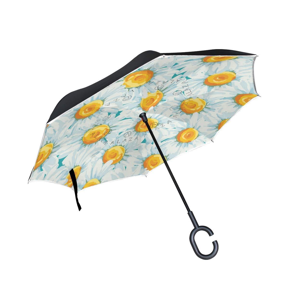 Mnsruu inversé parapluies Motif Floral avec Marguerites Parapluie Pliable Double Couche Coupe-Vent Anti-UV Coupe-Vent Voyage Parapluie pour Homme et Femme