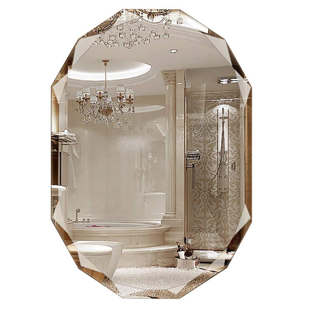 Bathroom Mirrors Oval Wall-Mounted Vanity Mirror Frameless Diamond Bevel Makeup Mirror for Bathroom Washroom Livingroom Hallway