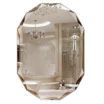 Miroirs De Salle Bains Ovale Mural Miroir Vanite Sans Cadre Maquillage Biseaute
