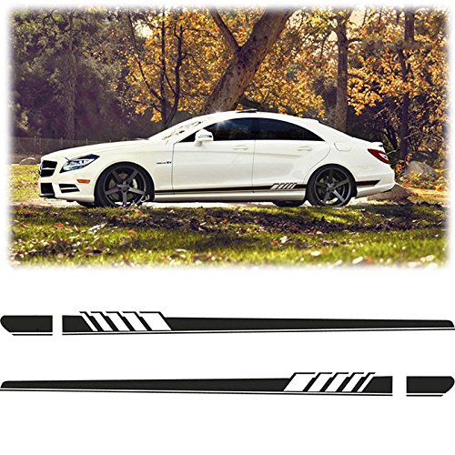 Xotic Tech Side Skirt Vinyl Decals Racing Sporty Stripe Trim Stickers for Mercedes Benz C A Class Black
