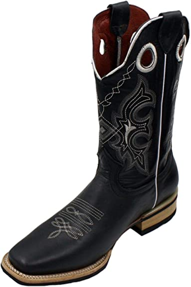 Men Genuine Cowhide Elephant Print Leather Cowboy Rodeo Western Boots