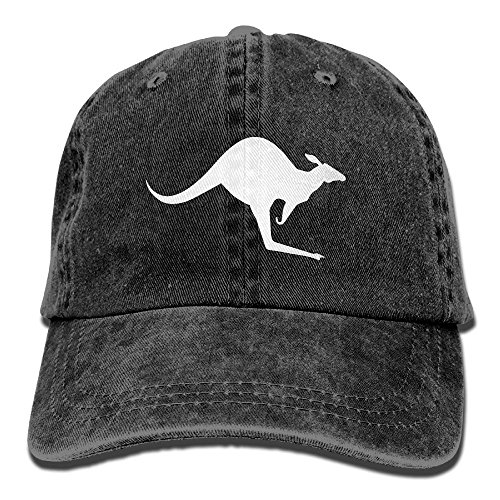 Unisex Baseball Cap Denim Fabric Hat Kangaroo Silhouette Adjustable Snapback Cricket Cap at Amazon Mens Clothing store: