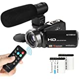 Video Camcorder, ACTITOP FHD 1080p Camera Camcorder 24MP 16x Digital Zoom with External Microphone and Remote Control