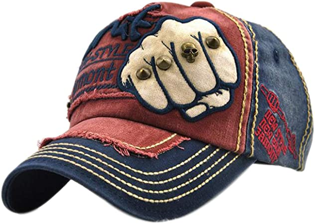 KTENME Personality Fist Pattern Duck Tongue Cap Letter Rivet Baseball Cap,Adjustable Hip Hop Cap Outdoors Sun Caps Couple Casual Hat