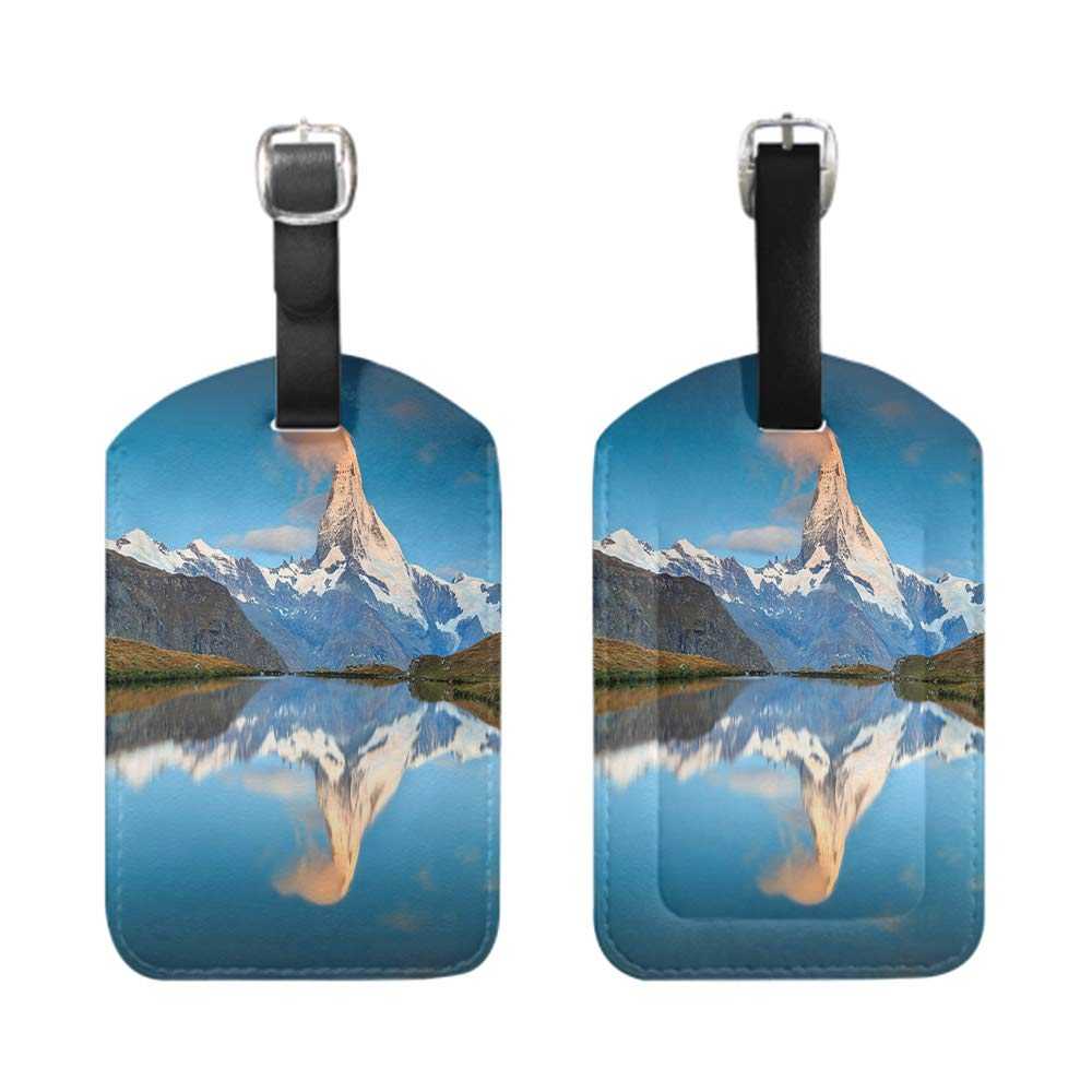 Stylish Patterned Private Luggage Tag bescribe leather name ID tag with privacy cover Madrid Almudena Cathedral Spain-2-Piece