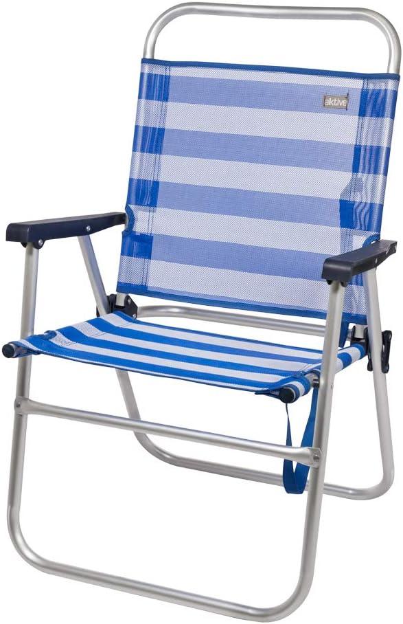51 x 56 x 90 cm Azul mediterr/áneo Aktive 53960 Silla plegable fija aluminio Beach