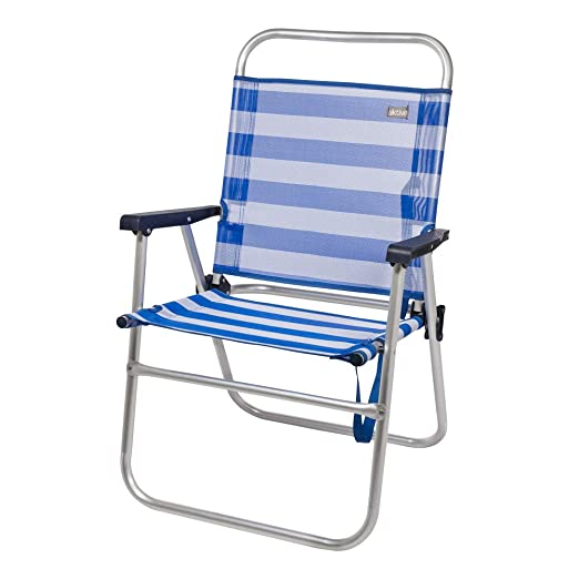 Aktive 53952 Silla plegable fija aluminio Beach, 51 x 56 x 90 cm Azul