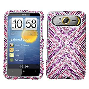 Hard Plastic Snap on Cover Fits HTC HD7 T9292 Cautions Full Diamond/Rhinestone T-Mobile (Please carefully check your device model to order the correct version.)