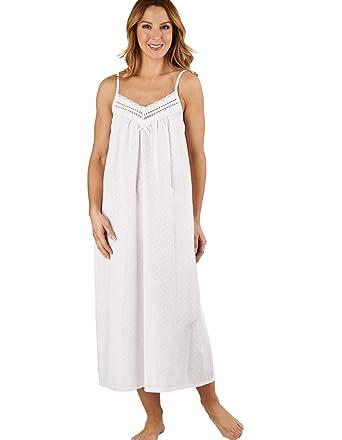 Slenderella ND1210L Women s Dobby Dot White 100% Cotton Night Gown  Loungewear Sleeveless Nightdress 20  41a866d9c
