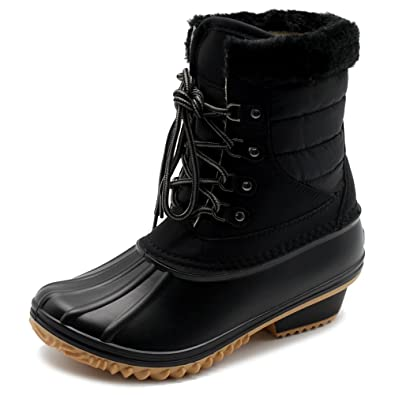 Women Shoe Lace Up Quilted Nylon Fleece Snow Duck Boots