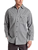 Key Apparel Men's Long Sleeve Button Front Hickory Stripe Logger Shirt